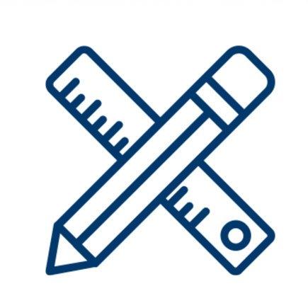 icona insegnamento: matita e righello